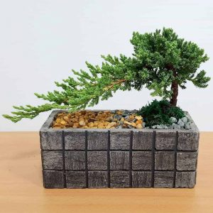 Wholesale Gray Tile Long Rectangular Vase Bonsai
