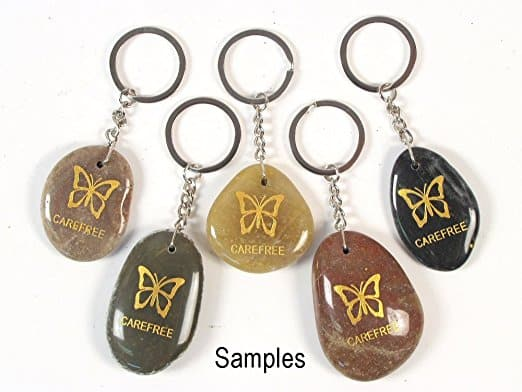 Inspirational Stone Keychain with Butterfly - Carefree