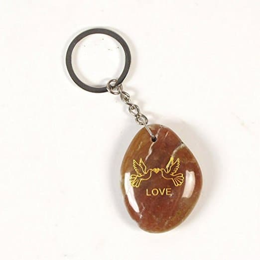 Inspirational Stone Keychain with Dove - Love