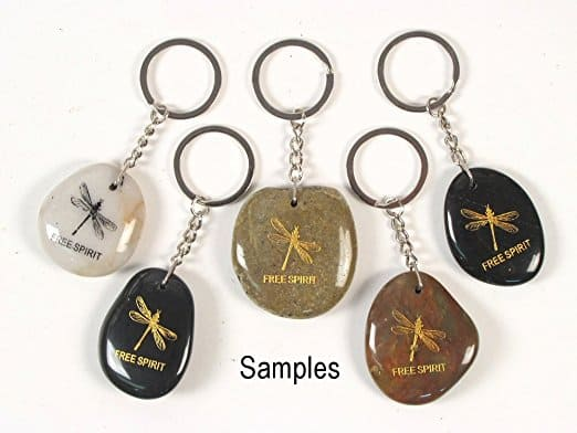 Inspirational Stone Keychain with Dragonfly - Free Spirit