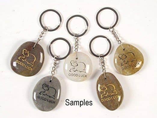Inspirational Stone Keychain with Elephant - Good Luck