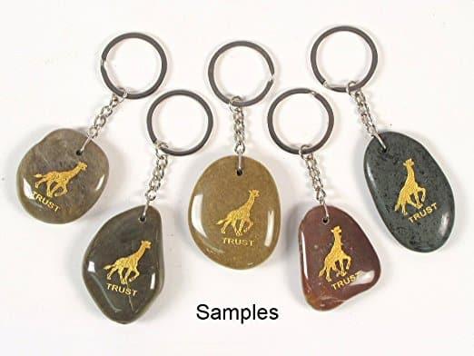 Inspirational Stone Keychain with Giraffe - Trust