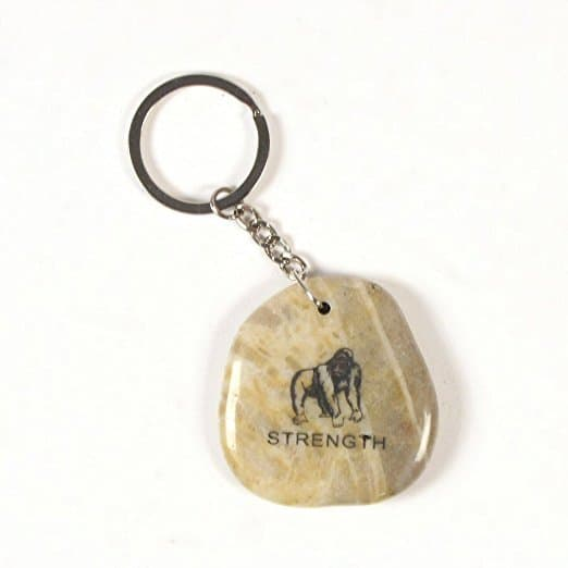 Inspirational Stone Keychain with Gorilla - Strength