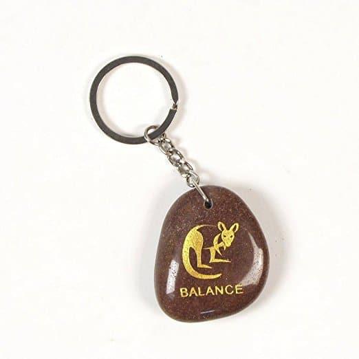 Inspirational Stone Keychain with Kangaroo - Balance
