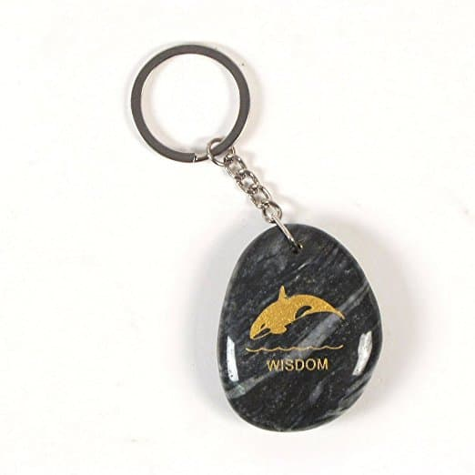 Inspirational Stone Keychain with Killer Whale - Wisdom