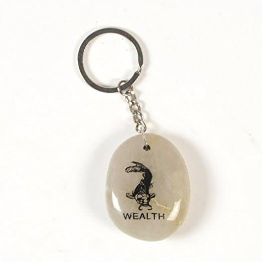 Inspirational Stone Keychain with Koi - Wealth