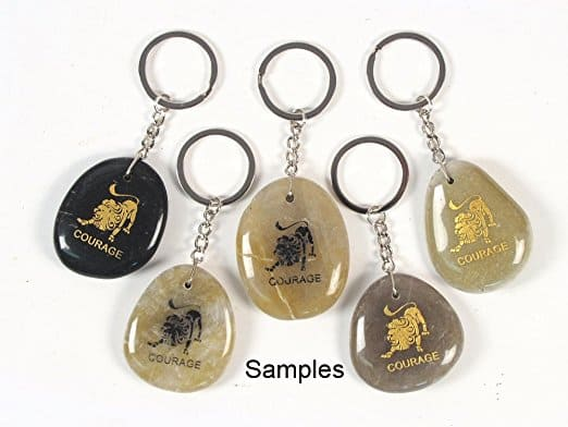 Inspirational Stone Keychain with Lion - Courage