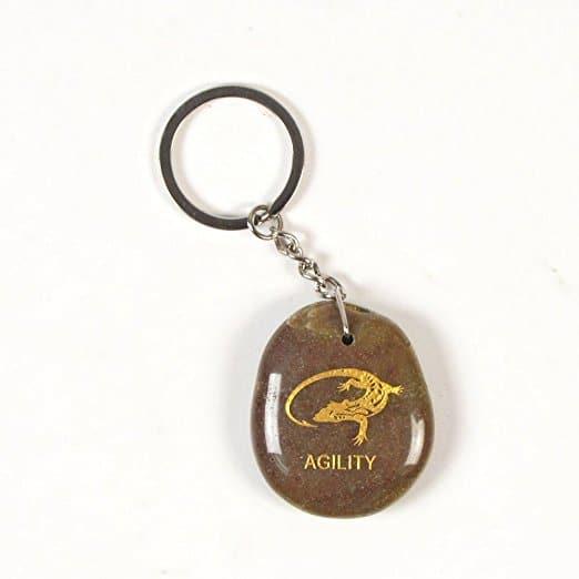 Inspirational Stone Keychain with Lizard - Agility