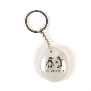Inspirational Stone Keychain with Penguin - Devotion